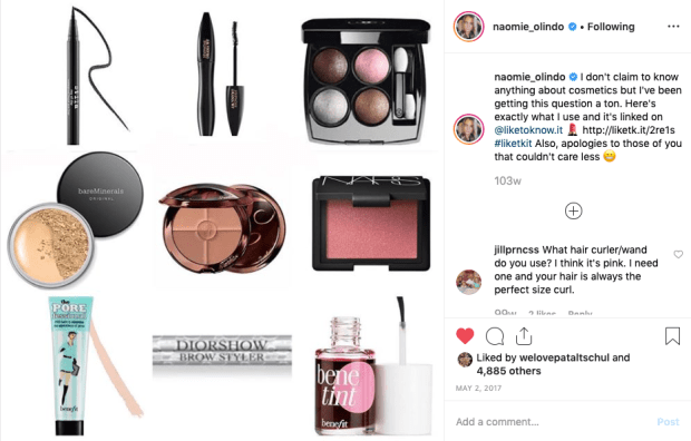 Naomie Olindo from Southern Charm's Makeup Favorites from Instagram 5:2:17