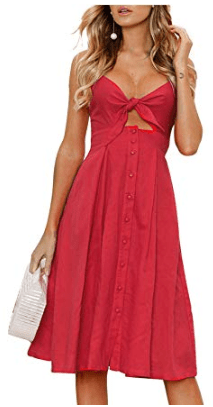 Tie Front Backless Spaghetti Strap Solid Casual A Line Party Dress in Red