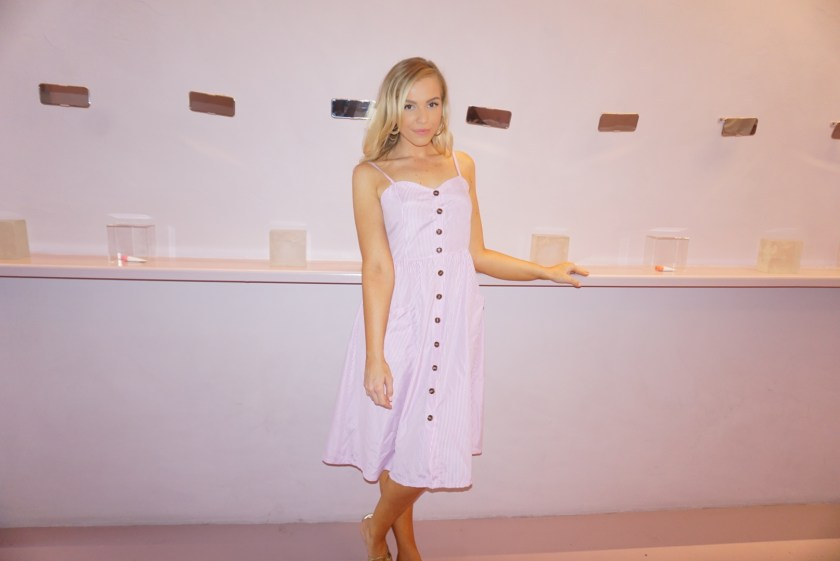 Wearing pink and white striped seersucker button down midi dress with spaghetti straps and sweatheart neckline from Amazon Fashion at Glossier Store in WeHo