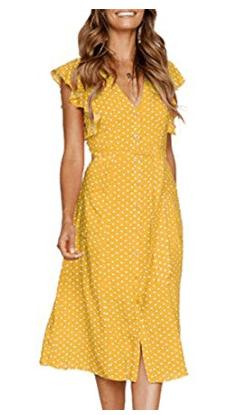 Yellow Polka Dot Short Flutter Sleeve Midi Dress from Amazon Fashion