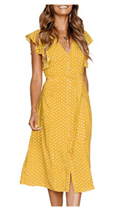 Yellow Polka Dot Short Flutter Sleeve Midi Dress from Amazon Fashion