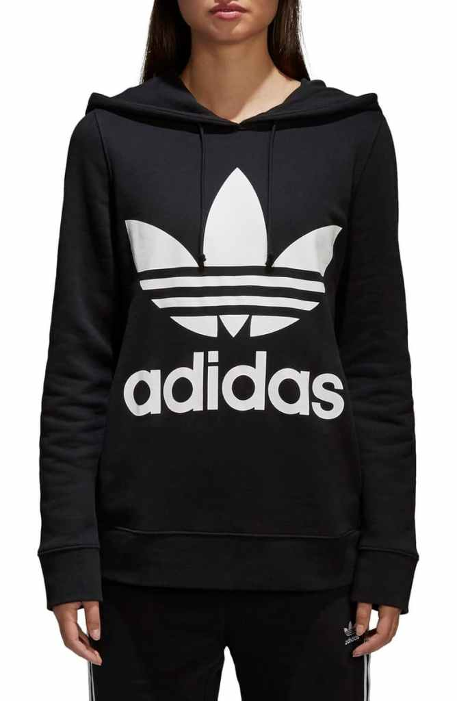 Adidas Originals Trefoil Hoodie in Black and White