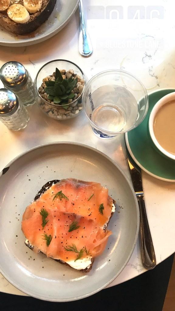 Bluestone Lane in San Francisco salmon toast for brunch