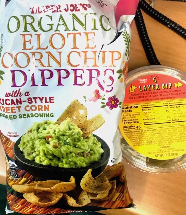 Trader Joe's Organic Elote Corn Dippers and 5 Layer Dip