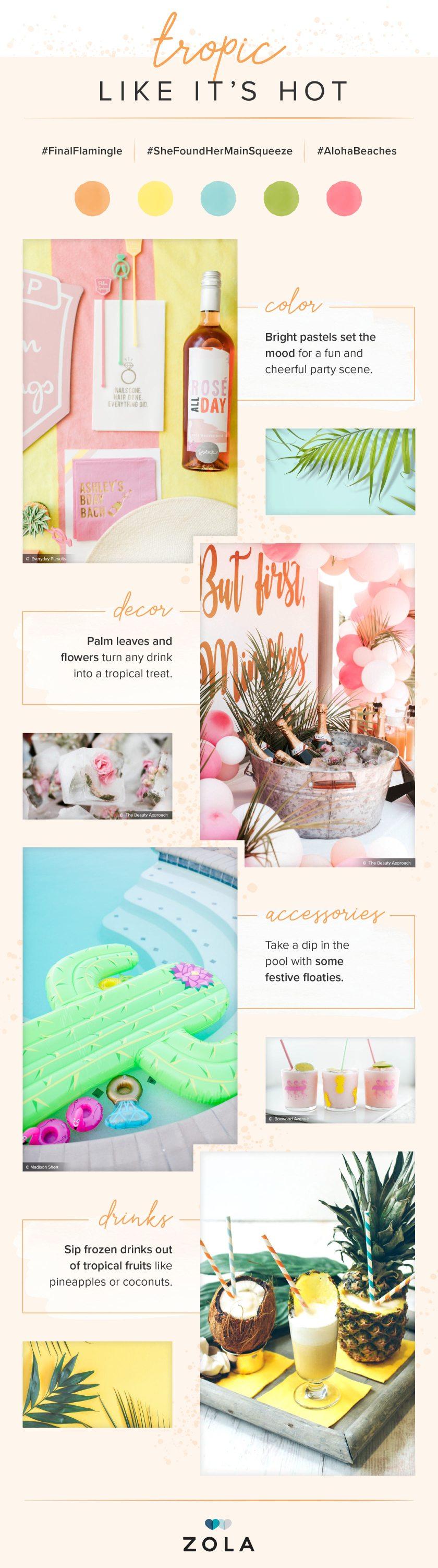 Tropical Bachelorette PartyTheme ideas mood board Tropic Like it's Hot from Zola