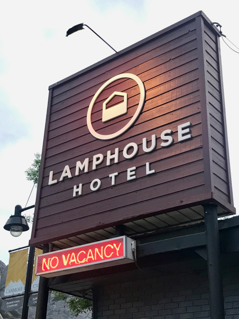 Lamphouse Hotel sign in Canmore, Alberta Canada 30 minutes outside of Banff