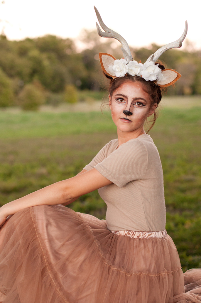 DIY, deer antlers, deer costume, flower crown