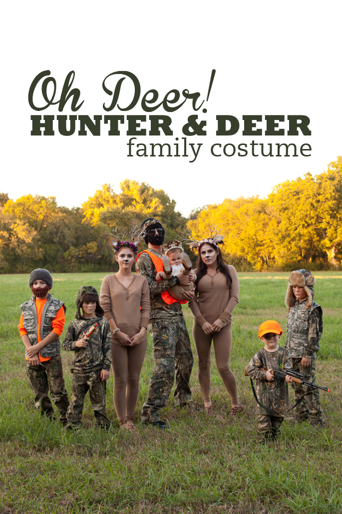 Family of 8 dresses up as hunters and deer for their Family Halloween Costume! Read more for tutorials on how to make your own set of deer antlers.