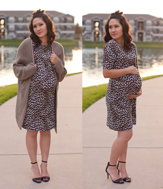 Animal Print Fitted Dress, Neutral Slouchy Cardigan, Maternity Fashion, Pregnancy