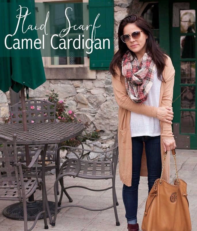 Plaid Scarf, Booties, Tory Burch Bag, Camel Cardigan