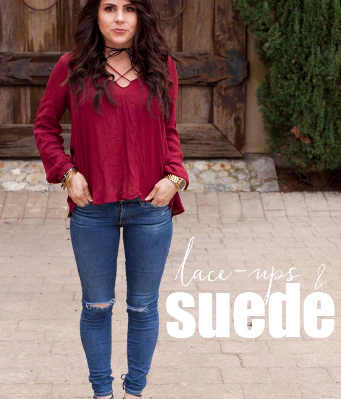 Lace-up blouse and shoes, suede jacket, fall fashion