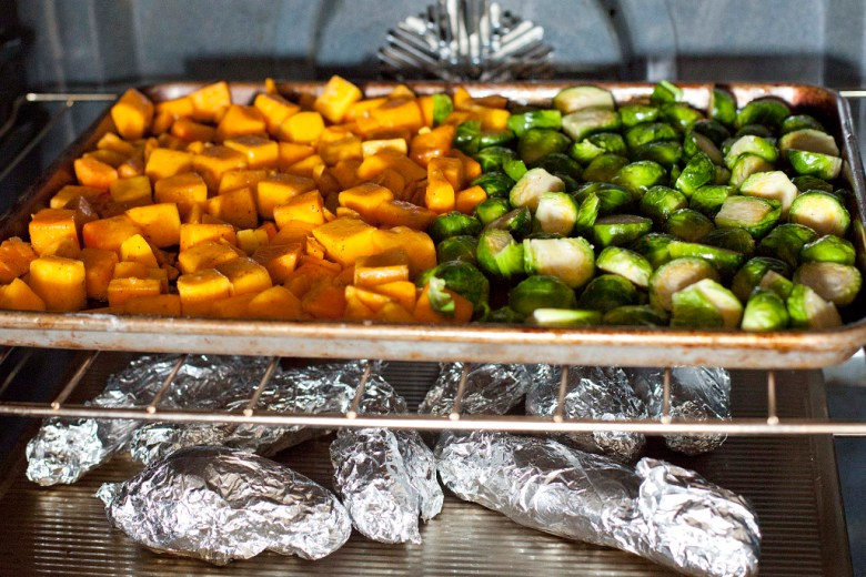 Easy & simple roasted brussels sprouts, butternut squash, sweet potatoes