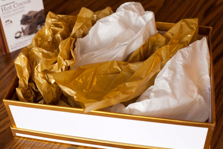 Gift box, gold, white, Target, gift basket, tutorial, tissue paper, Christmas