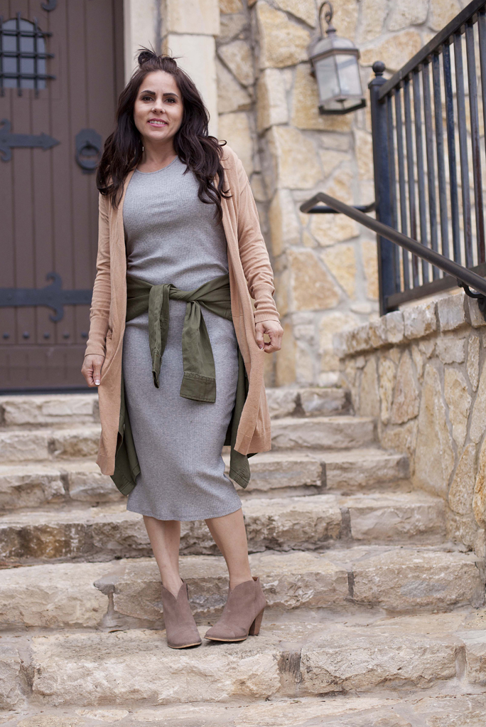 Grey Dress, Camel Cardigan, Army Green Jacket, Neutral, Booties