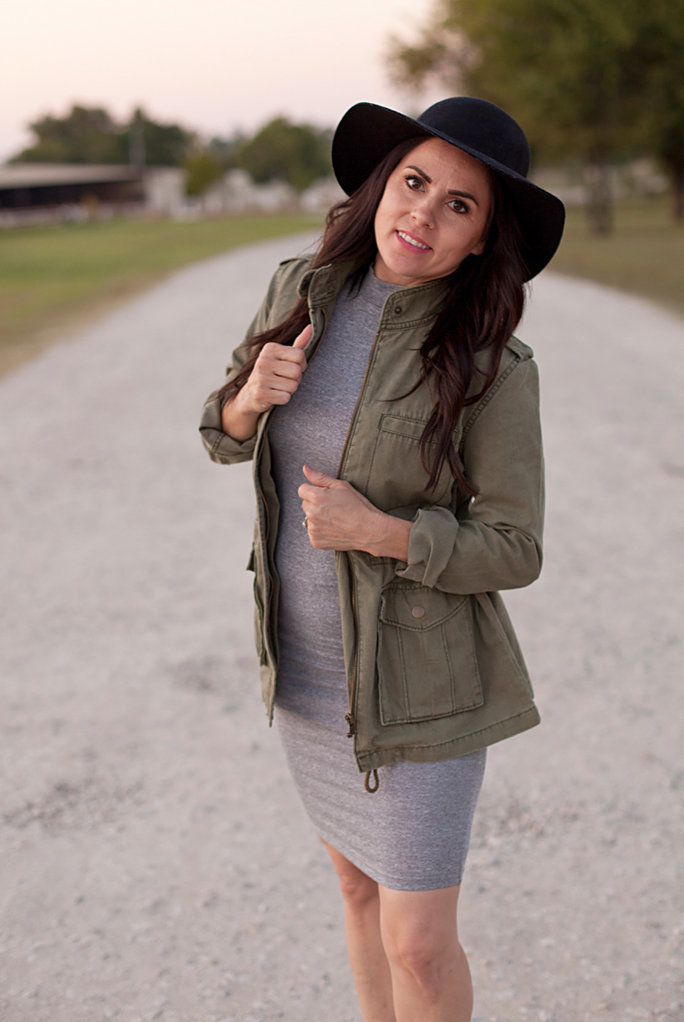 Grey Dress, Army Green Jacket, Black Stud Booties
