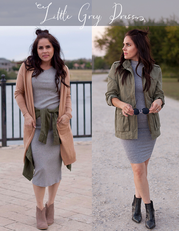 Grey Dress, Army Green Jacket, Black Stud Booties, Camel Cardigan, Neutral Booties