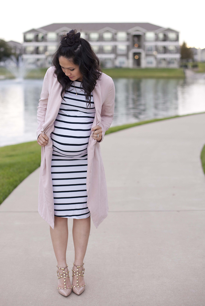 Maternity Outfit Idea, Stretch Stripe Dress, Valentino Studded Heels, Pink Trench Coat, Pregnancy Fashion
