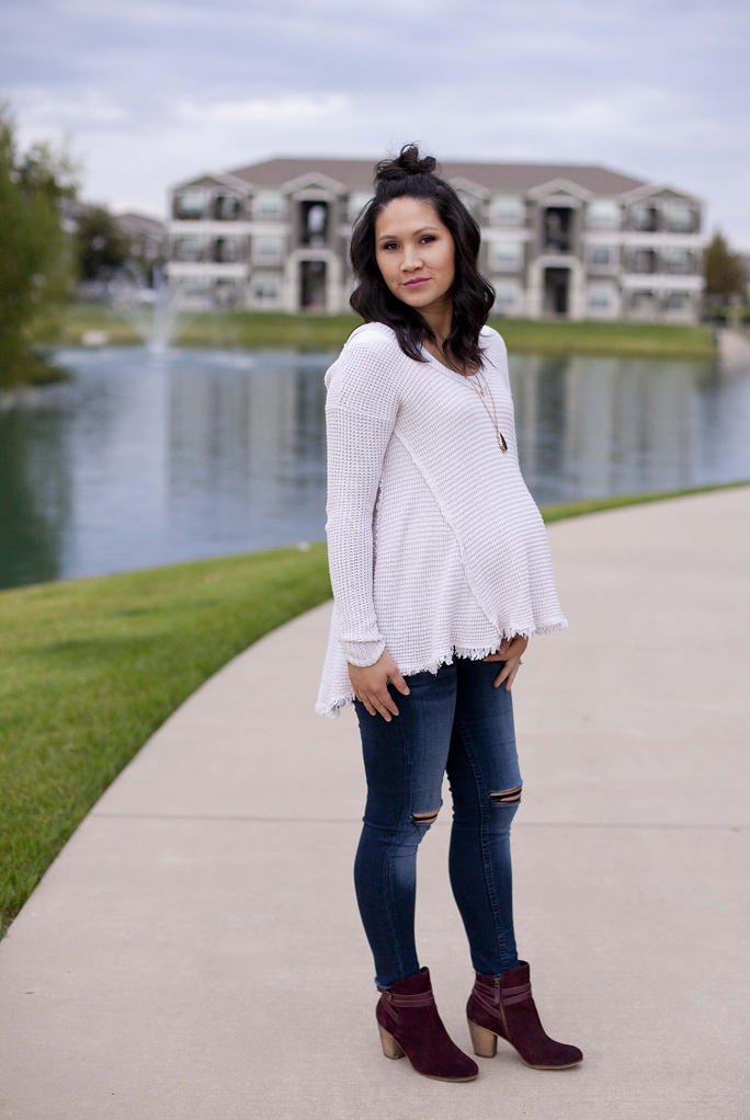 White Flowy Sweater, Loose, Comfy, Distressed Denim, Maroon Booties, Maternity, Pregnancy, Fashion