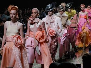 Models at the Marc Jacobs runway show.
