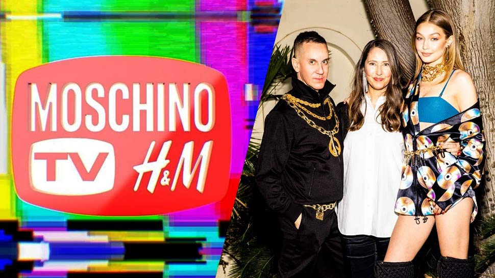 Jeremy Scott and Gigi Hadid pose with Moschino x H&M logo