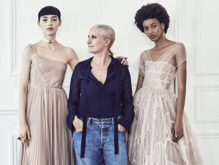 Dior's Maria Grazia Chiuri with models in her more feminine gowns