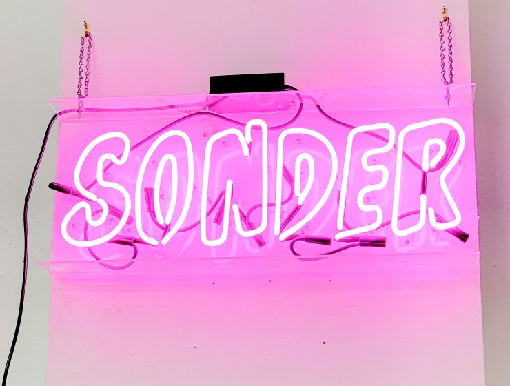 "Pink Neon Sign that Reads, ""Sonder"""