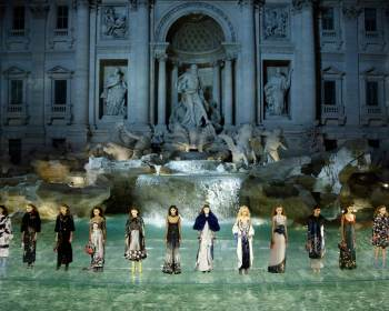 Lagerfeld's Chanel show at a replica of the Trevi Fountain