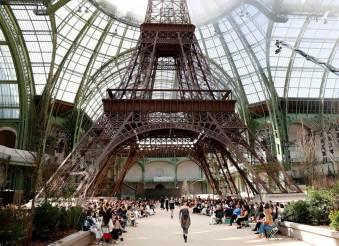 Chanel show under a replica of the Eiffel Tower