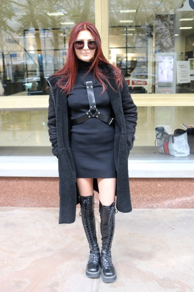 This is an image of FIT student, Sarah Mazer, showcasing her personal street style.