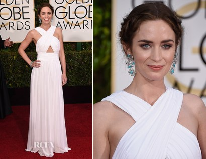 Emily Blunt in Michael Kors white draped dress