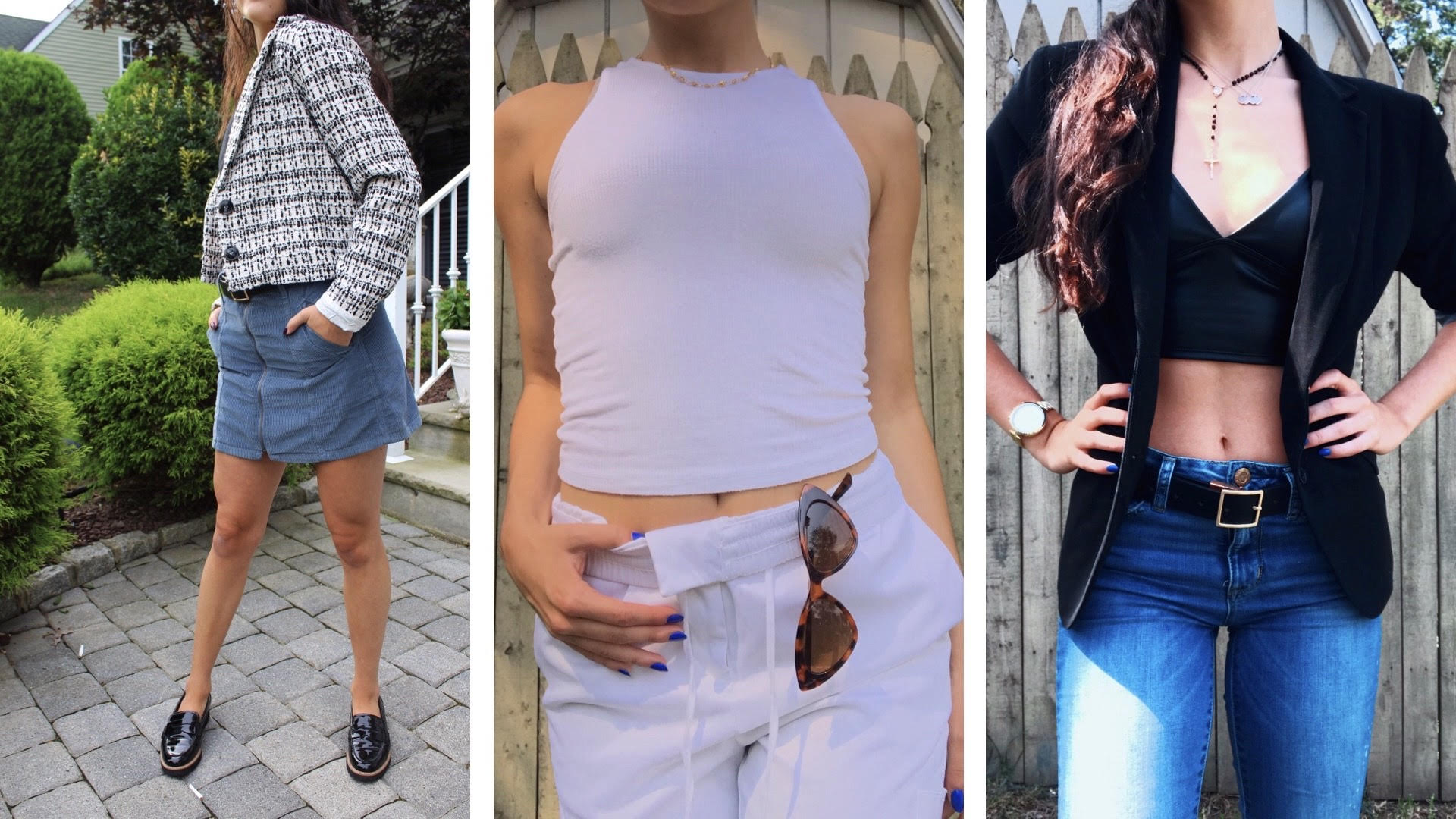 Samantha in 3 different back to school looks