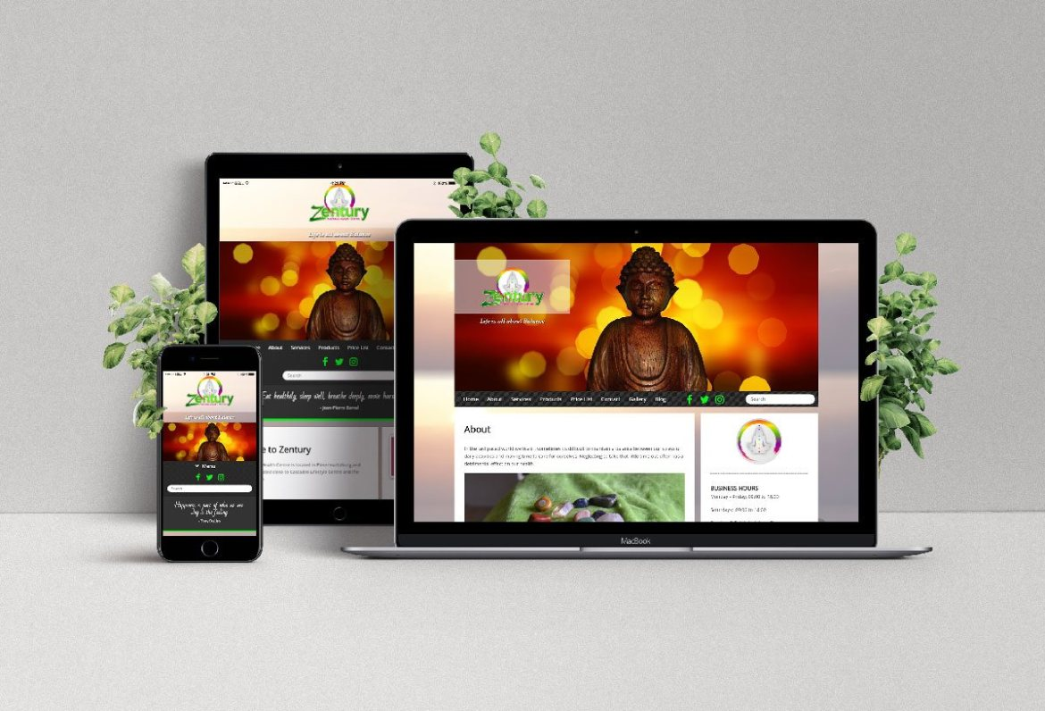 Zentury Natural Health Centre Web Design for Health Spa and Online Shop