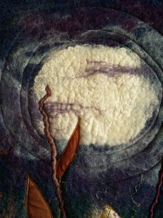 golden hare 2 full moon wet felted wall hanging art felt blyth whimsies detail 2016-06-08 09.47.36