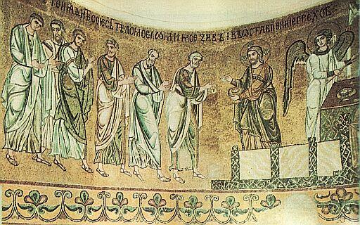 мозаїчна композиція «євхаристія» з михайлівського золотоверхого собору. 1108–1113.