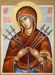 """Ікони Божої Матері """"Пом'якшення злих сердець"""" (""""Семистрільна"""") та """"Непорушна стіна"""""""