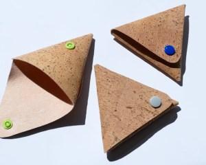 Korkgeldbeutel in Dreiecksform