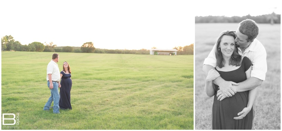 Houston Maternity photographer sunset maternity shoot in open field with toddler
