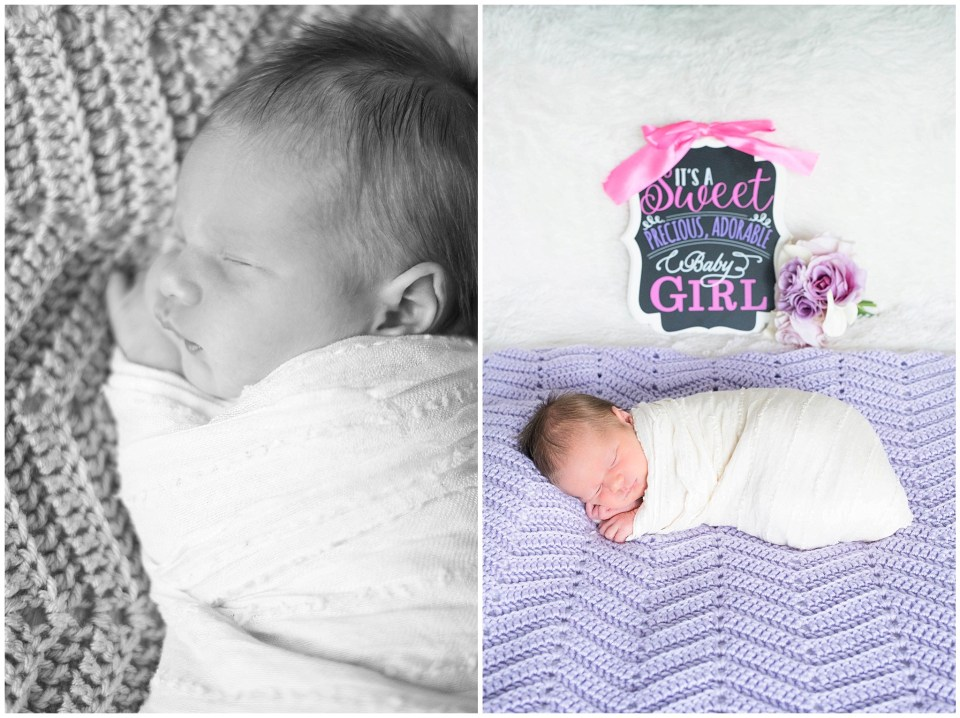 Kingwood newborn photographer session with baby girl & soft pink, purples, & a knit crown