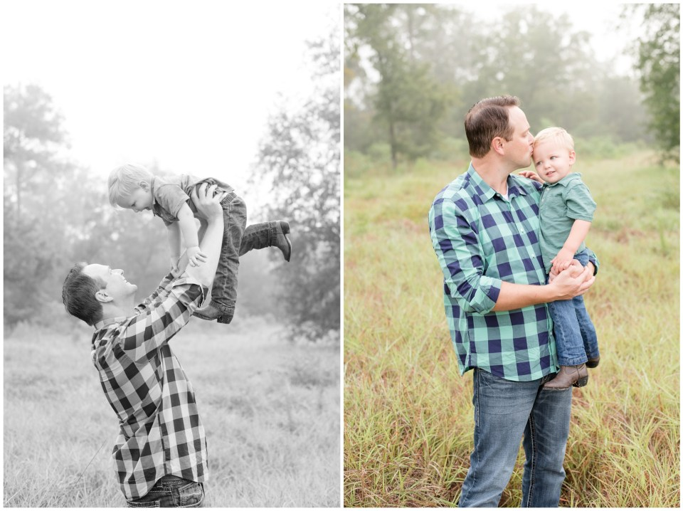 Kingwood family photographer foggy morning family portrait session plus 1 year old portrait session