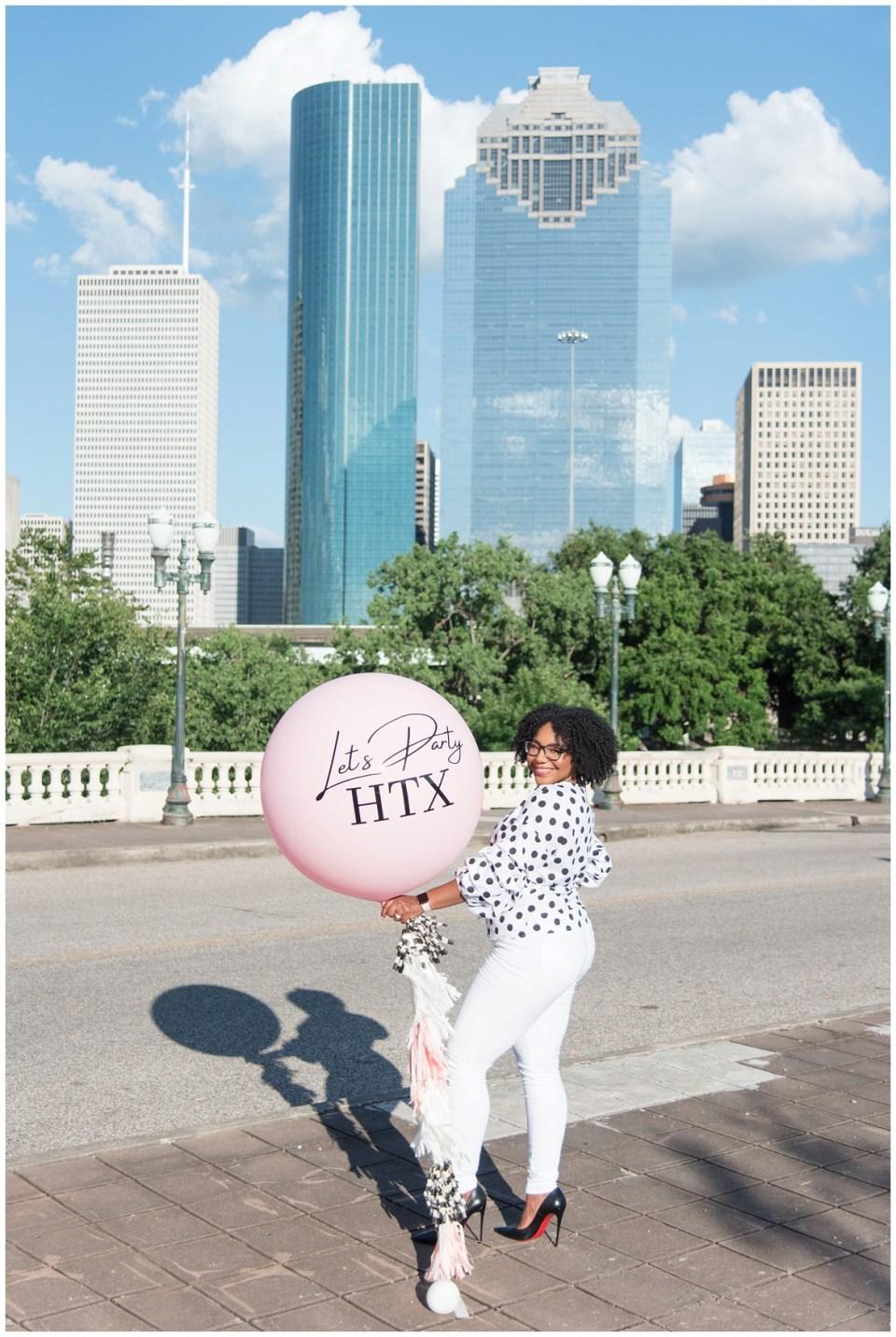 Houston brand photographer - session on Houston's Sabine Street Bridge for Let's Party HTX