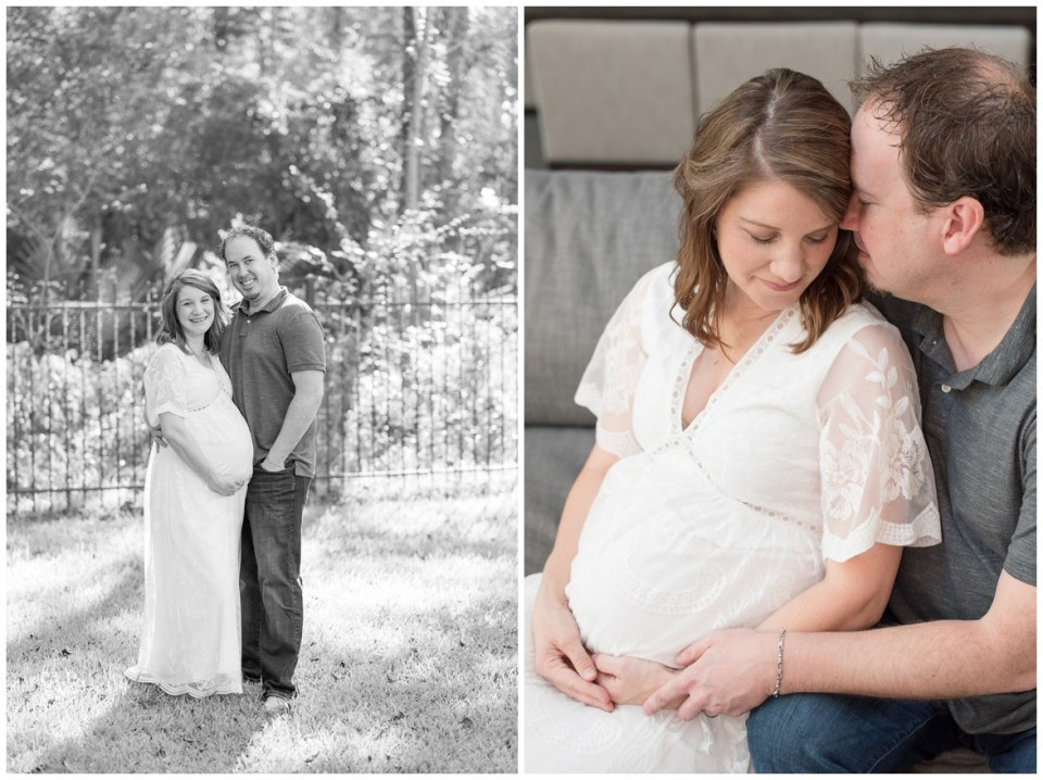 Kingwood Photographer's at-home maternity portrait session with family of four