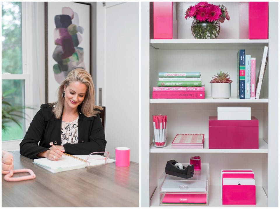 Houston Brand Photographer's session with professional organizer in home office