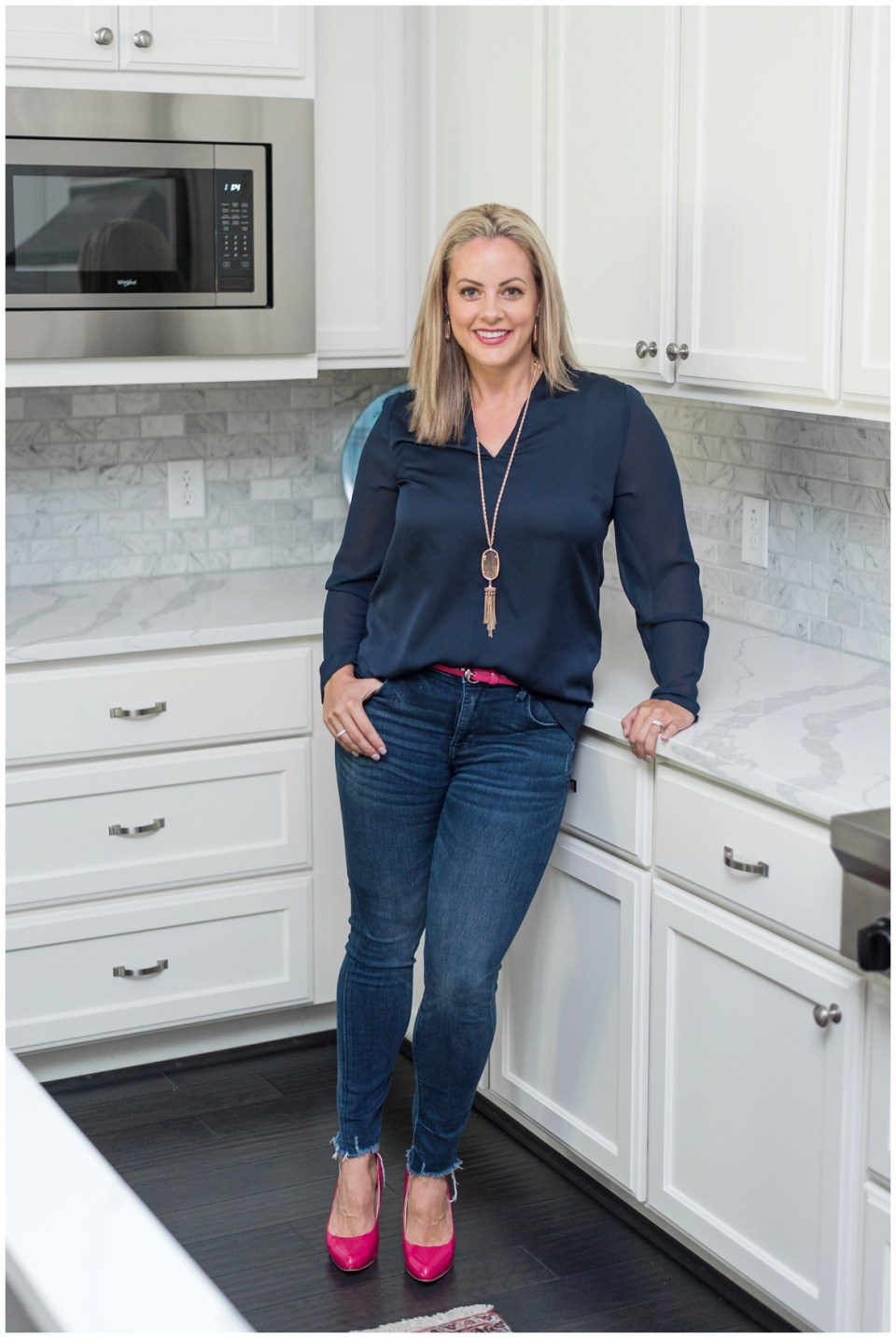 Houston Brand Photographer's session with professional organizer in kitchen
