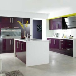 Corvara Kitchen (Aubergine Gloss Slab Doors)