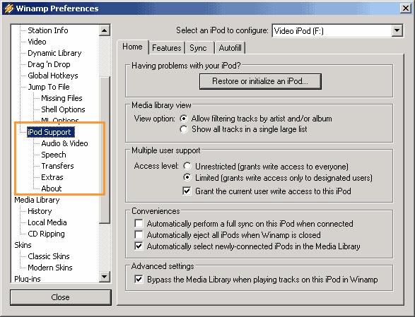 Ipod Preferences screenshot