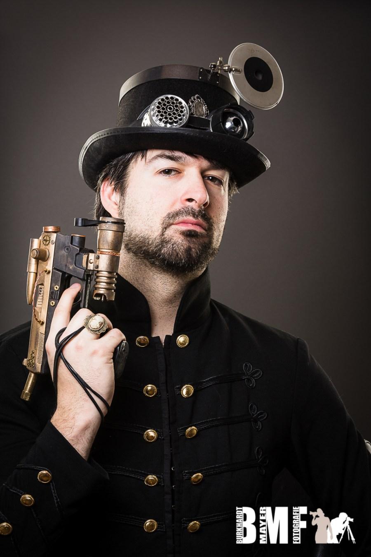 Armed steam punk man