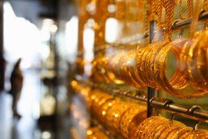 Gold bangles in a Dubai gold souk. United Arab Emirates