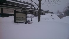 The campus covered in frets of snow.