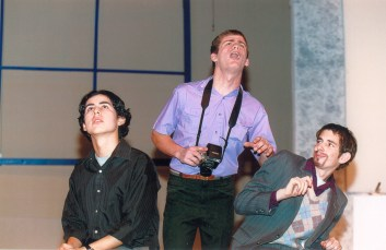 "David Cutler '02 plays a small role in ""Museum,"" performed in 2000. Photo by David Barron."