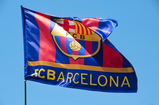 Fc Barcelona Flag Waving On The Wind